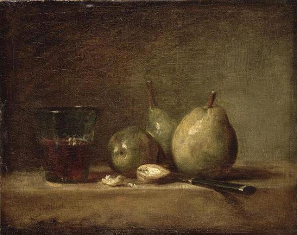 Poires, noix et un verre de vin, Chardin, 1768, Musée du Louvre