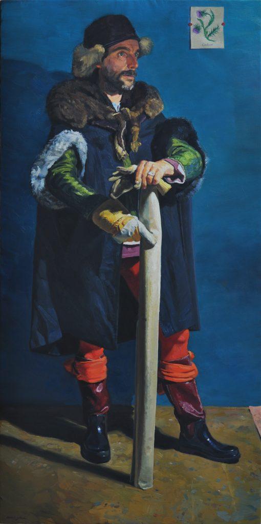 Un quart d'heure au grand R, Armel Jullien - Peinture à l'huile (195 x 97 cm)