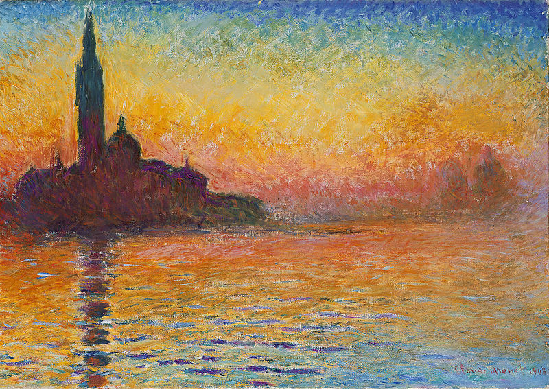 Claude Monet, St-Georges-Majeur au crépuscule, 1908, Musée National de Cardiff, Wikimedia Commons