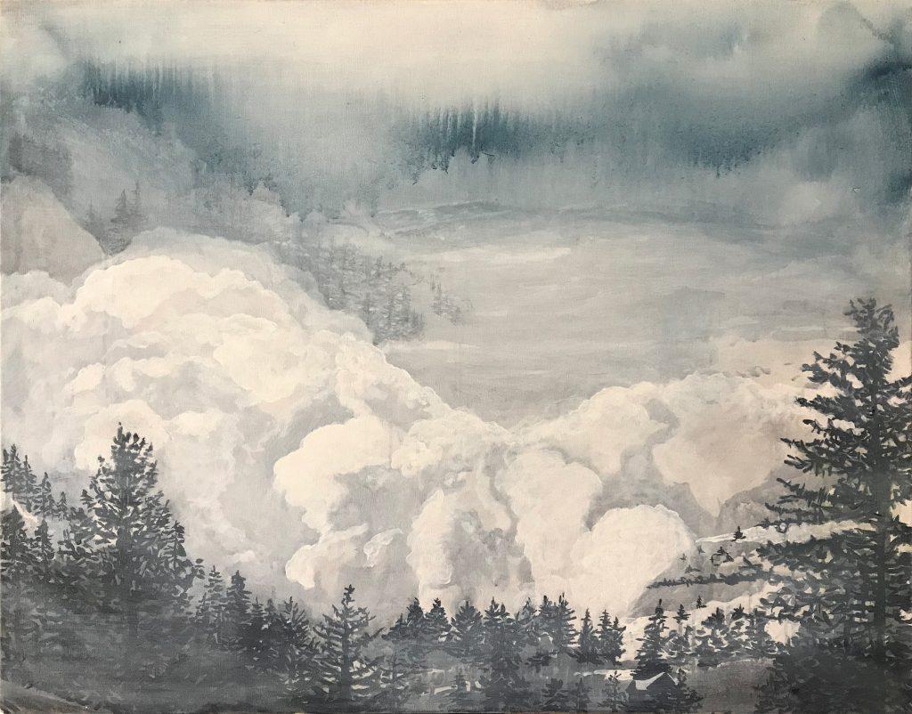 Black pines on blue rainy storm & white cloud