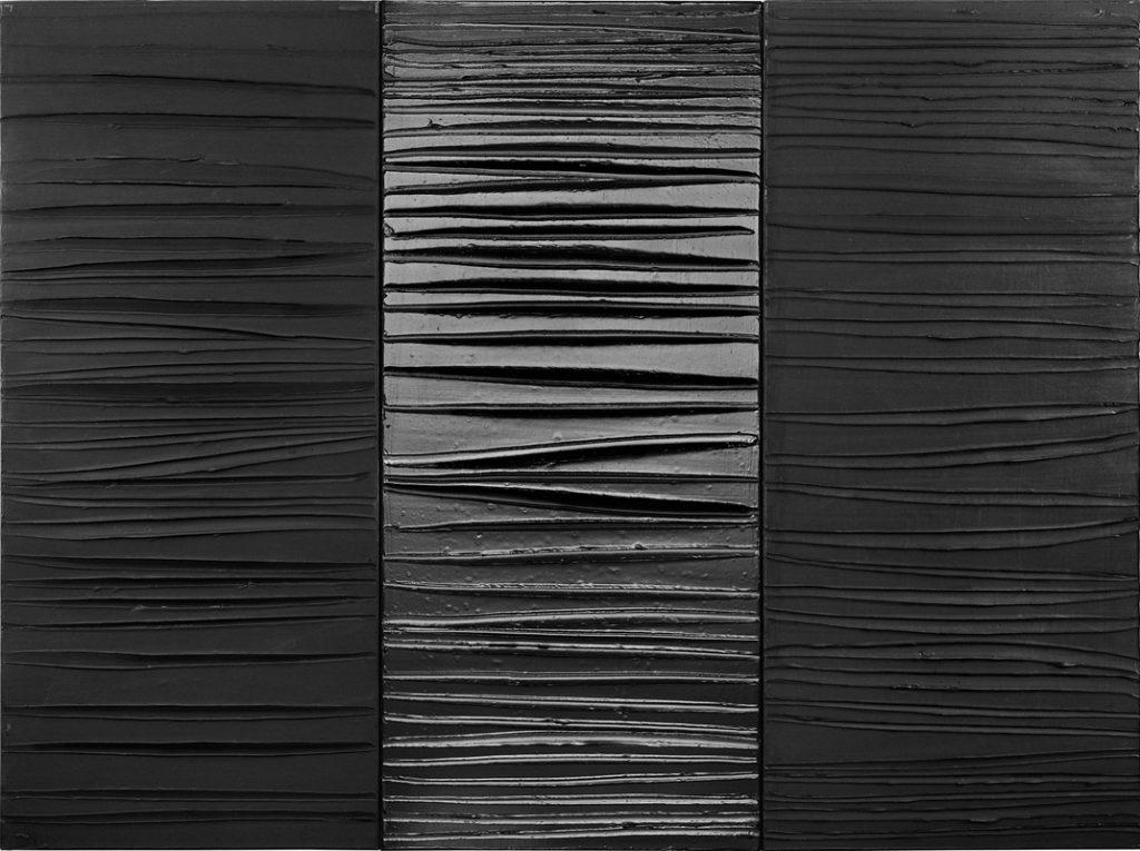 Pierre Soulages, Peinture 181 x 244 cm, 25 février 2009, triptyque © Adagp 2011. Image © Lyon MBA - Photo Stéphane Degroisse