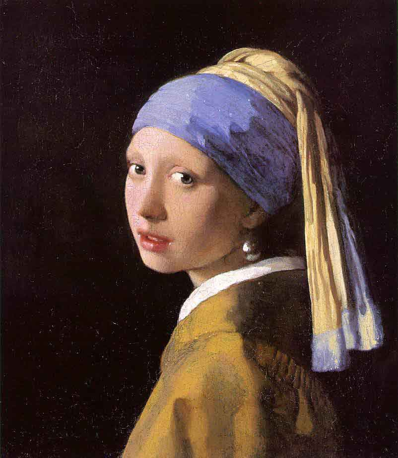 Vermeer, La Jeune Fille à la perle (peinture à l'huile, 1665)