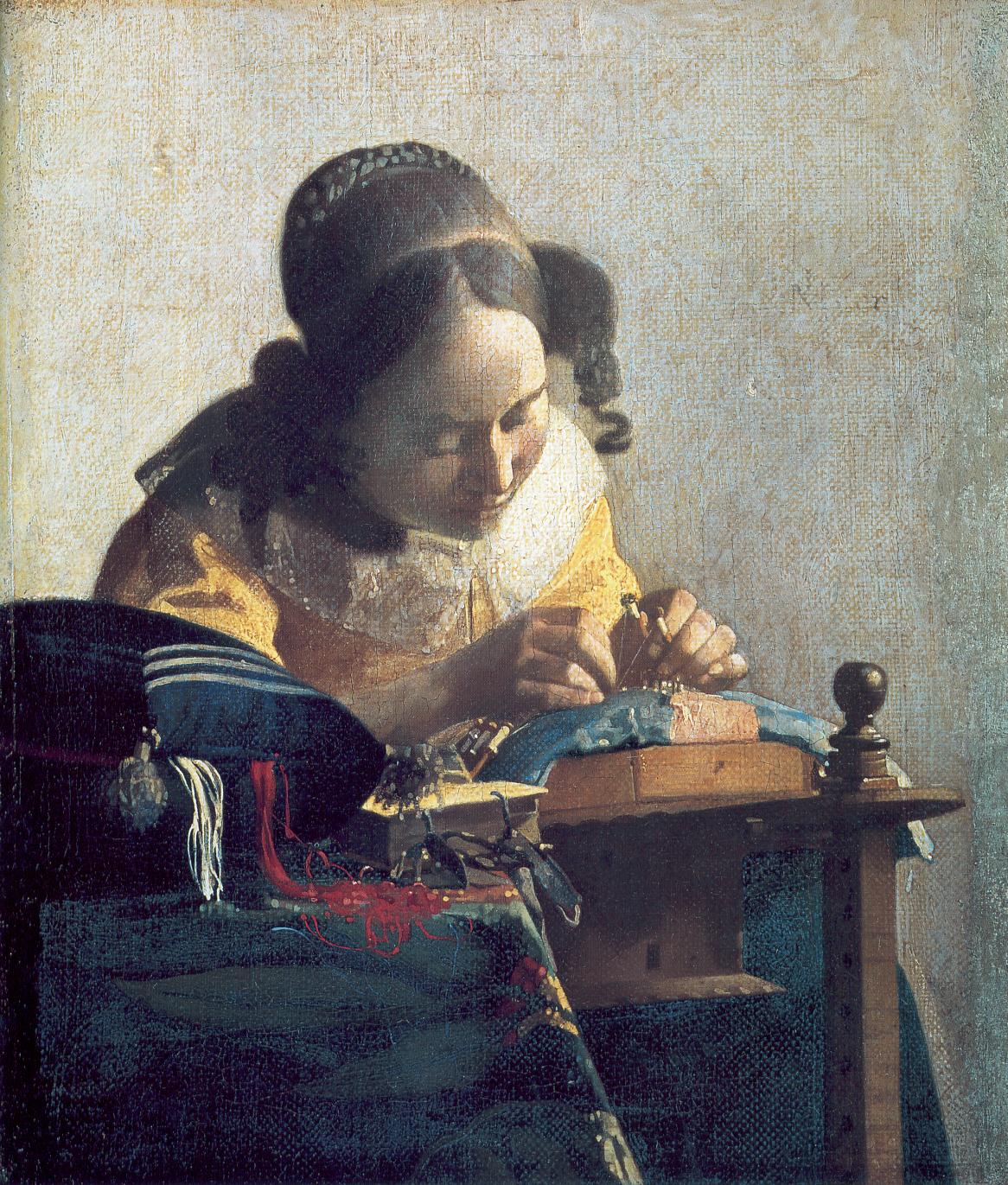 Vermeer, La Dentellière (huile sur toile, 1669-1671)