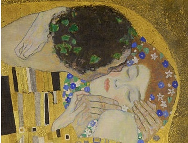 Gustav Klimt, Le Baiser (1907-1908), visage des amants