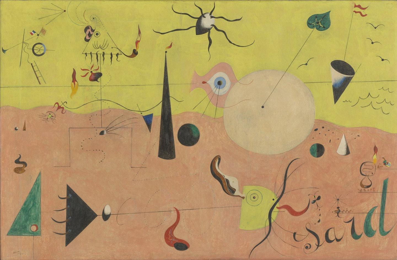 Joan Miró, Paysage catalan (le chasseur), (huile sur toile, 1924)