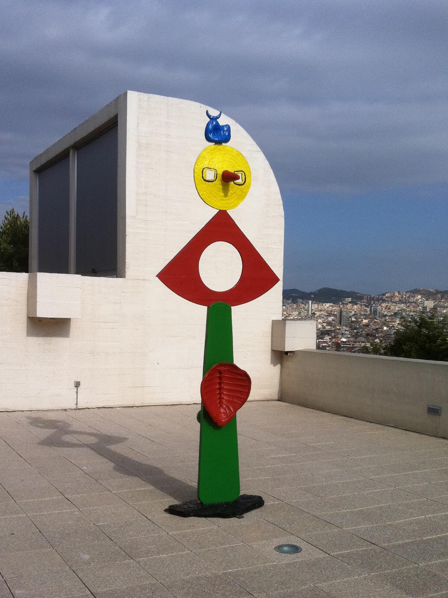 Joan Miró, La caresse d'un oiseau (bronze peint, 1967)