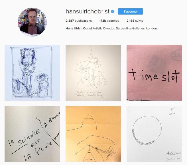 Extrait du compte Instagram de Hans Ulrich Obrist / © Hans Ulrich Obrist