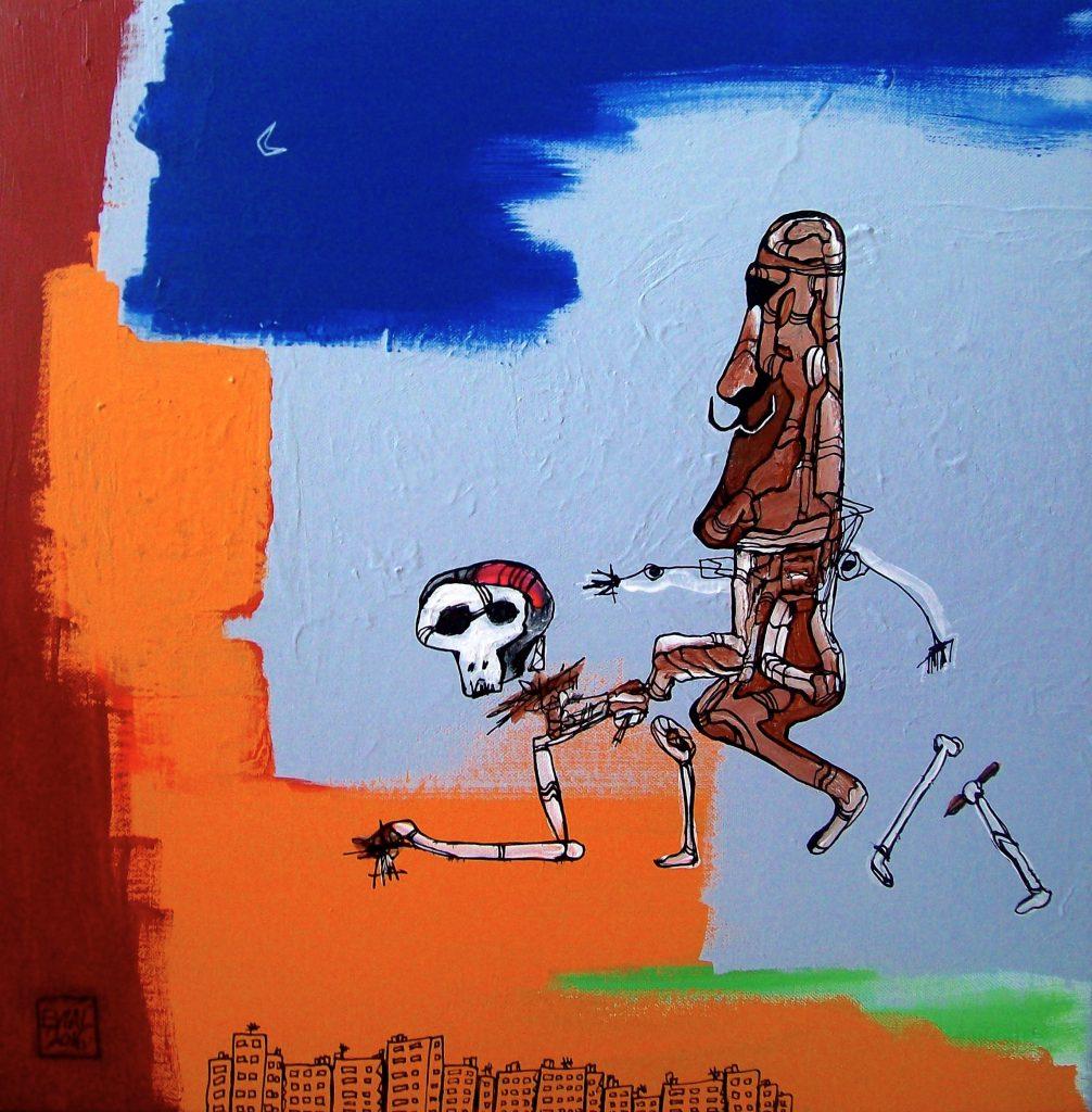 EVIAL, Dalístic ride inna basquiat mood (acrylique sur toile, 2016)