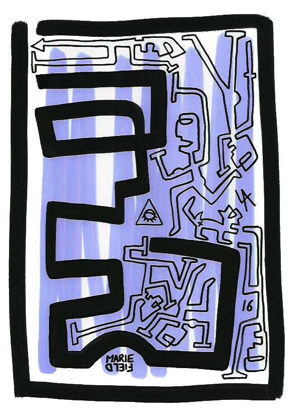 Marie Field, Profil alone blue (dessin, 2016)