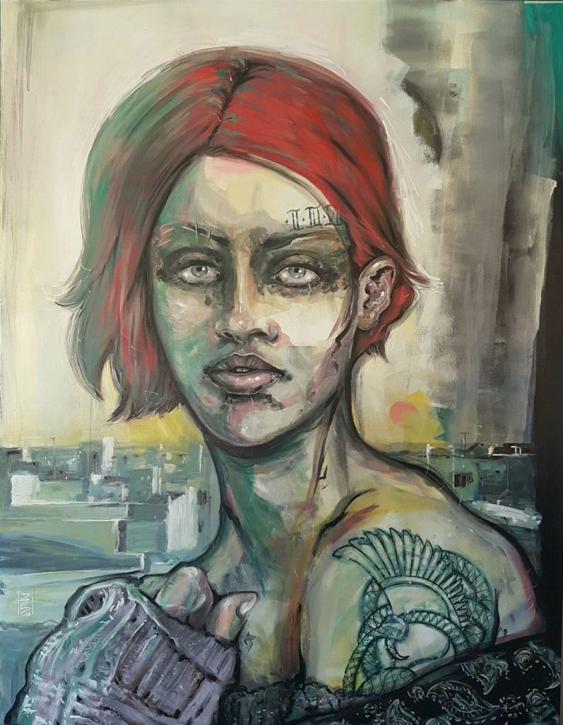 Danny DED, Silent city (acrylique sur toile, 2016)