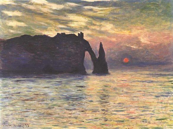 Monet, Soleil couchant à Etretat, 1883 / Via Wikimedia Commons