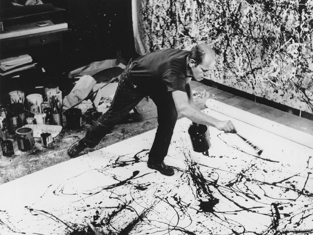 Jackson Pollock en plein Action painting