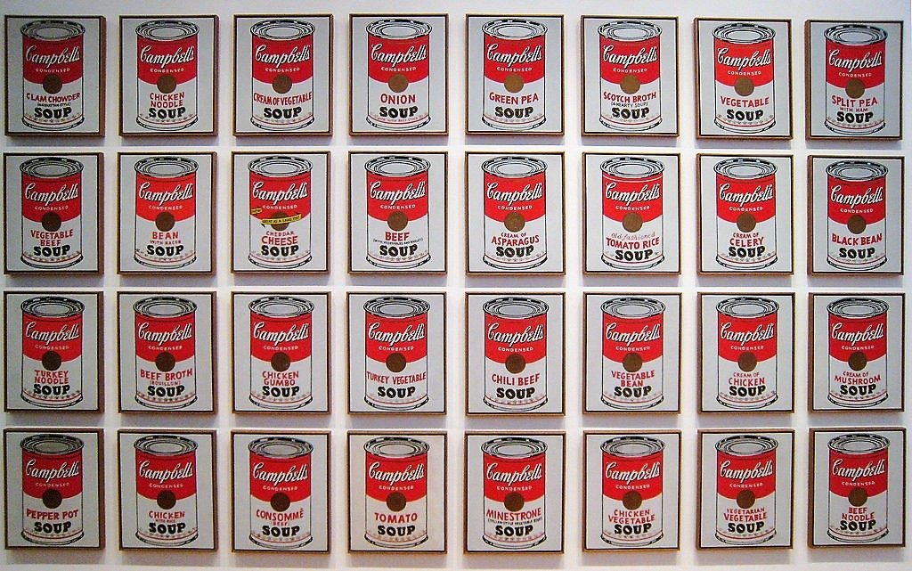 Campbell's Soup, Andy Warhol, 1962, MoMA (97cm x 163 cm / Flicker, Sharon Mollerus, CC BY 2.0