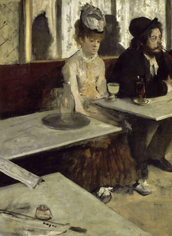 Edgar Degas, L'Absinthe (huile sur toile, entre 1875 et 1876, exposée au Musée d'Orsay) / Edgar Degas [Public domain], via Wikimedia Commons