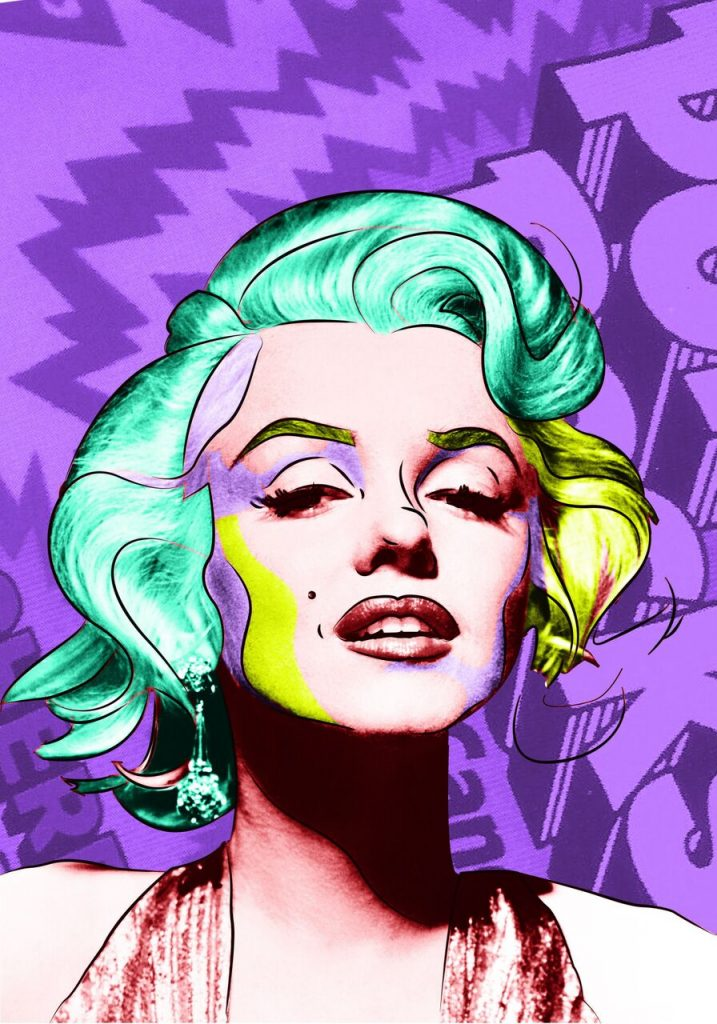 Marilyn Purple, Jimmy Deneuville, Technique Mixte 60 x 48 cm