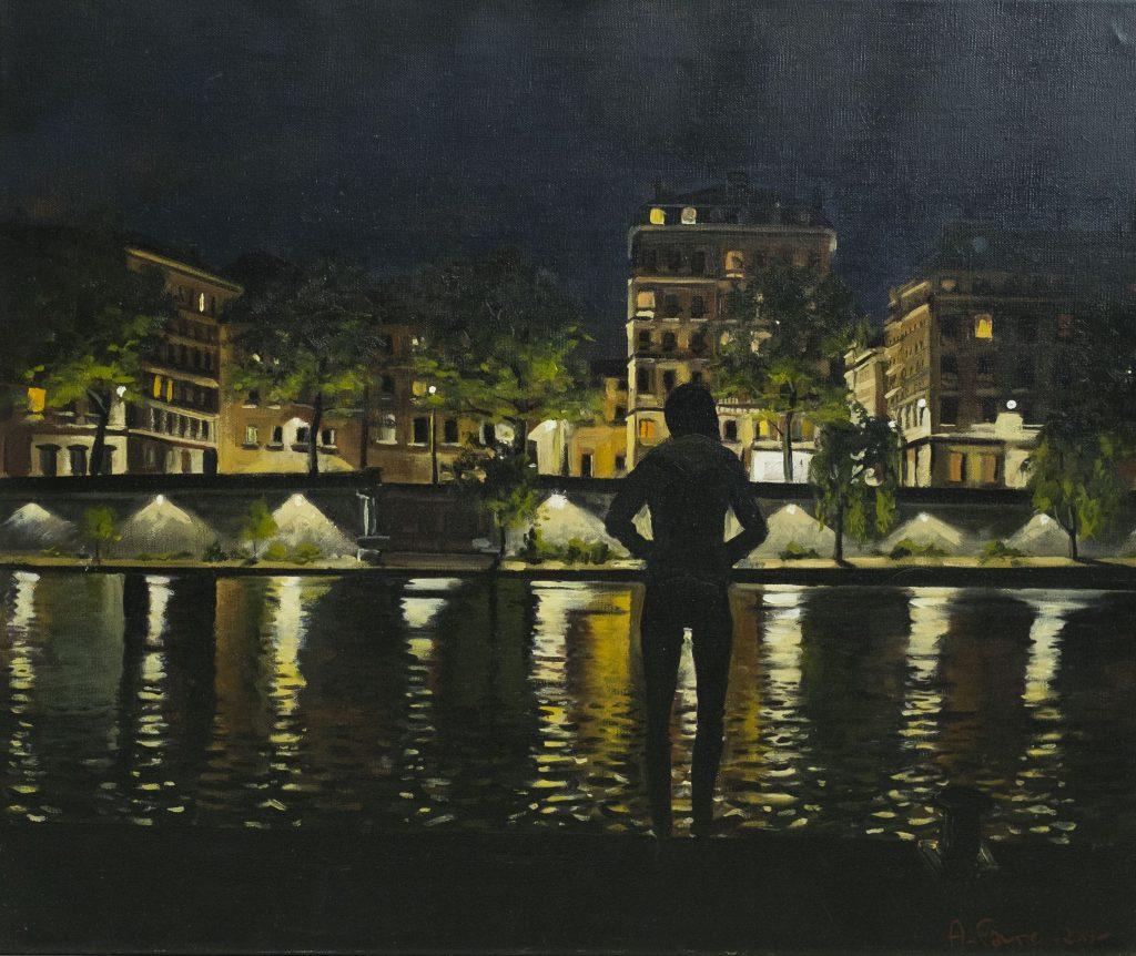 Antoine Favre, Femme sur les quais de Saone, nuit, 1000€