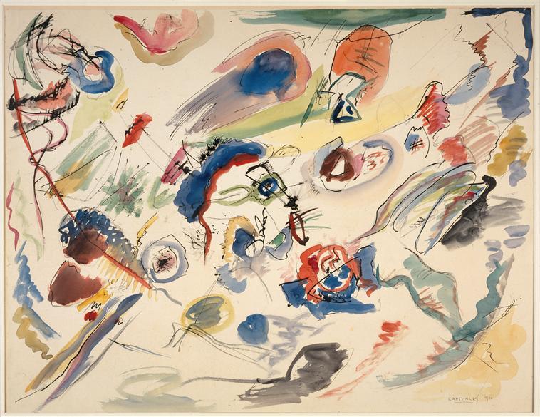 Sans titre, Kandinsky, 1910 ou 1013, Centre Pompidou - Musée national d'art moderne - Crédit Photo (C) Centre Pompidou, MNAM-CCI, Dist. RMN-Grand Palais / Jacques Faujour