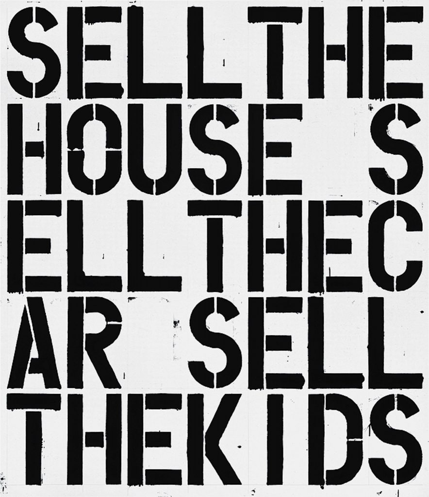 "Christopher Wool, ""Apocalypse Now,"" 1988, enamel and Flashe on aluminum (84 x 72 inches), © Christopher Wool, courtesy of the artist and Luhring Augustine, New York"