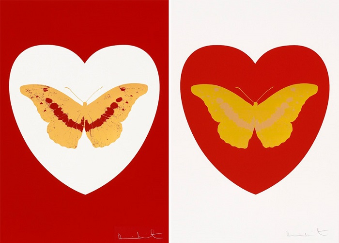 Sérigraphie sur papier de Damien HIRST - white/red/cool gold/poppy red' / 'I love you – red/oriental gold/cool gold, 2015