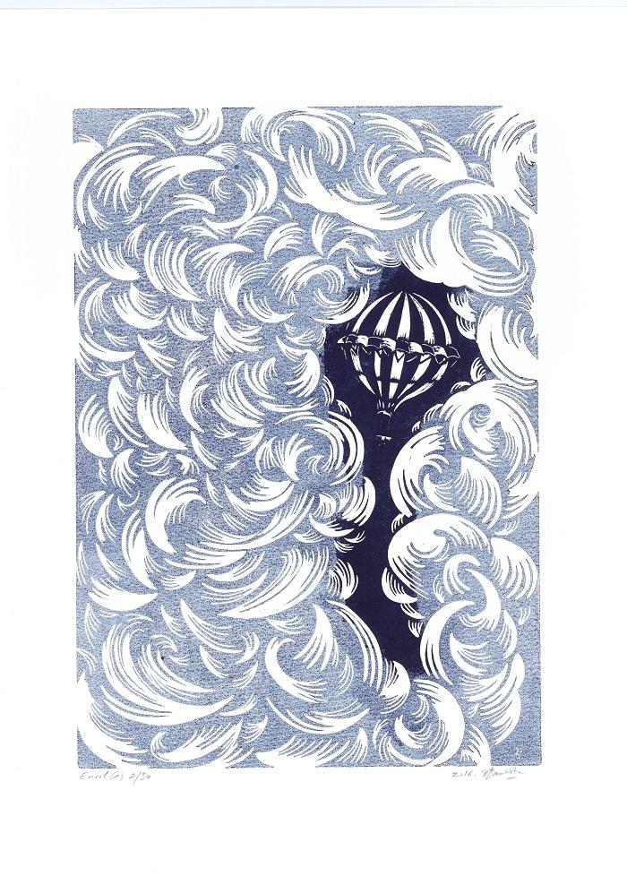 Linogravure sur papier, Envol d'Hélène Bautista, Kazoart