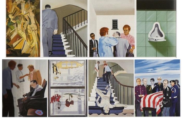 Ensemble de huit tableaux de Gilles Aillaud, Eduardo Arroyo et Antonio Recalcati, Vivre et laisser mourir ou la Fin tragique de Marcel Duchamp, 1965 (Musé Reina Sofia, Madrid)