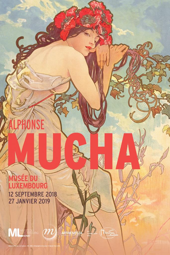 Affiche de l'exposition Alphonse Mucha au Musée du Luxembourg