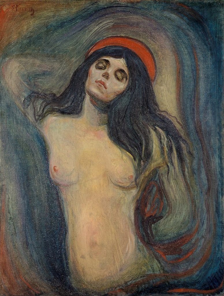 Munch, Madone (1894) / Version from Munch Museum, Oslo. Public Domain, https://commons.wikimedia.org/w/index.php?curid=38126863