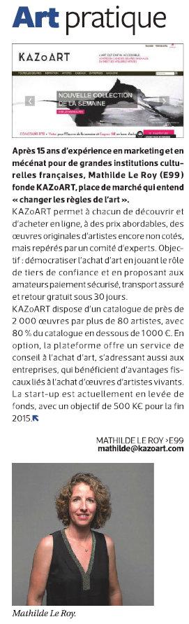 Article sur KAZoART dans le journal des Alumni de l''ESSEC